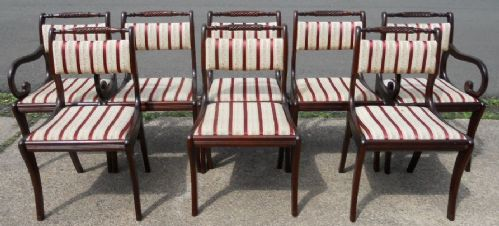 Set of Eight Upholstered Regency Style Mahogany Dining Chairs